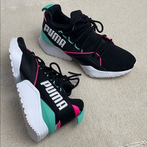 Puma Size 6 women's Shoes Muse Maia Black Colorful